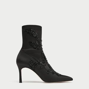 NWT Zara Embroidered Satin High-Heeled Ankle Boots